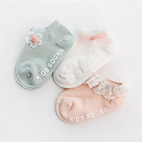 3 par/Lote 0 a 24 M Primavera Verano Calcetines de bebé Color sólido Calcetines de Piso de bebé de algodón Suave Calcetines de Barco Antideslizantes para niñas-a5-24M