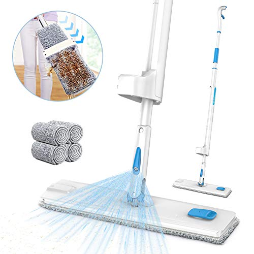 Spray Mop, JASHEN Self Wringing Microfiber Mop Flat Floor Mop Kit with 4 Reusable Pads, 360 Degree Dry and Wet Cleaning Mop for Hardwood Floor, Laminate, Wood, Tile (White)