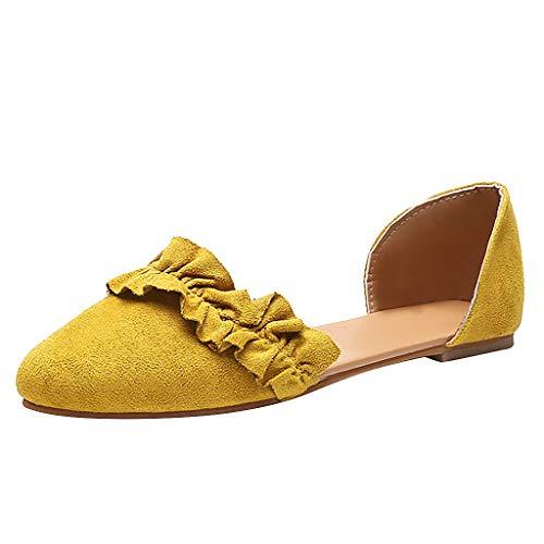 Damen Klassische Ballerinas Wildleder Spitz Flache Schuhe mit Rüschen, Frauen Mokassins Bequeme Loafer Schöner Damenschuhe Celucke (Gelb, 39 EU)