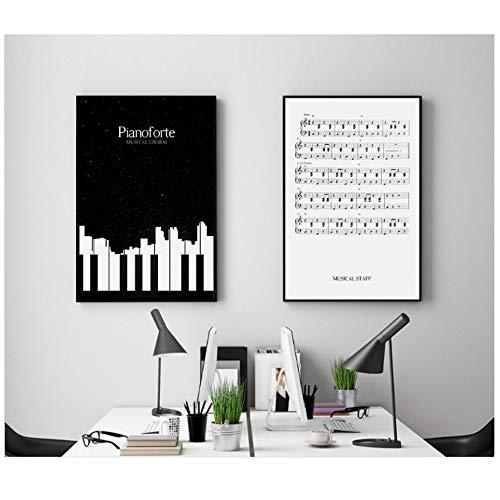 NIESHUIJING druk op canvas abstracte zwart-wit-piano noten canvas schilderij poster en druk wandafbeelding-50x70cm geen lijst