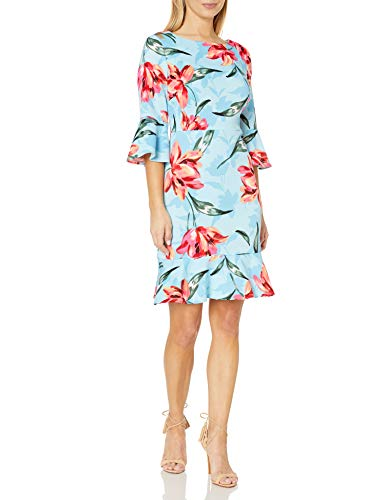 NINE WEST Women's Bell Sleeve Dress, Spring Blue Multi, 16
