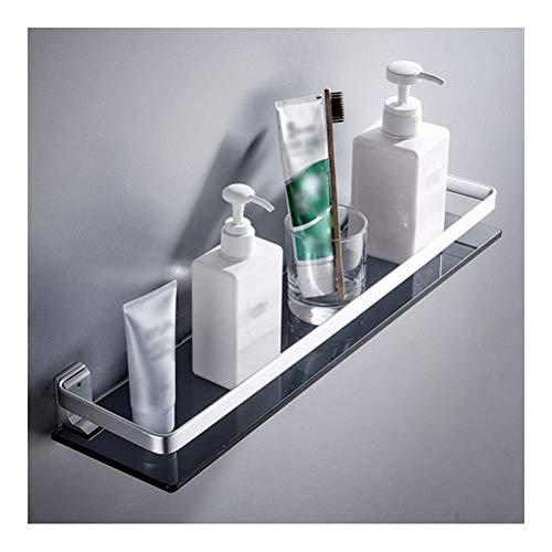rek handdoekhouder glas bad zwart aan de muur gemonteerd gemakkelijk te monteren roestvrij drijvende rekken bad organizer douche caddy rack (grootte: 40 cm) 60 cm.