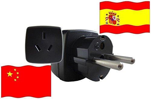 Adaptador de Viaje a España de China ES - CN Enchufe de Viaje España (Contacto Protección, 2200 Vatios)