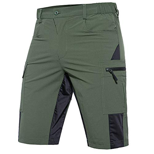 Hiauspor Mens Mountain Bike Shorts Loose-Fit,MTB Biking Short Lightweight Cycling Bicycle Pant with Zipper Pockets (Green, L)