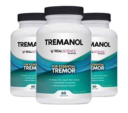 Tremanol Natural Aid for Essential Tremor - Provides Tremor Relief for Shaky Hands, Arm, Leg And Voice (Pack of 3 Of 60 Capsules Each)