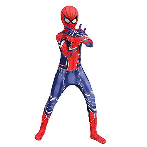 VARY Disfraz Spiderman Halloween Navidad Cosplay de Pelicula Jumpsuit Ajustado con Estampado de Arana,XXL/170cm
