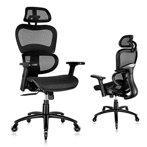 SUNNOW Ergonomic Office Chair, Mesh Desk Chair with Lumbar Support - 3D Armrest and Adjustable...