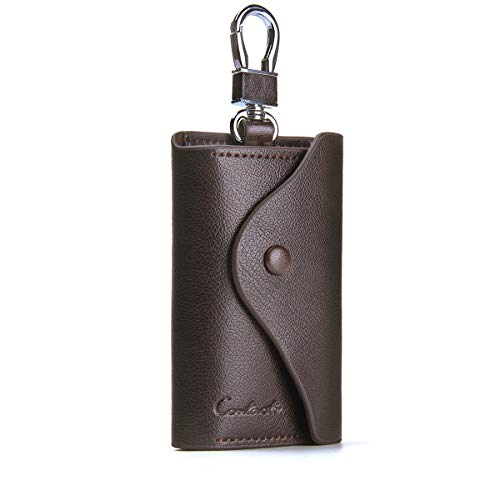 Contacts Men Genuine Leather Car Key Case ID Card Holder with Keyring Keychain Coffee