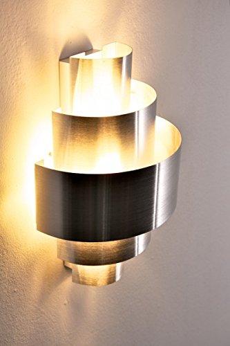 Wandlampe Lucillo aus Metall in Aluminium gebürstet, moderne Wandleuchte mit Up & Down-Effekt, 1 x E14 max. 40 Watt, Innenwandleuchte mit Lichteffekt, geeignet für LED Leuchtmittel