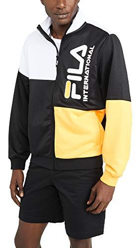 Fila Men's Daniele Track Jacket, Black/Gold Fusion/White, Large