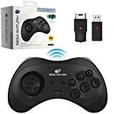 Retro-Bit Official Sega Saturn 2.4 GHz Wireless Controller 8-Button Arcade Pad for Sega Saturn, Sega Genesis Mini, Switch, PS3, PC, Mac - Includes 2 Receivers & Storage Case (Black)