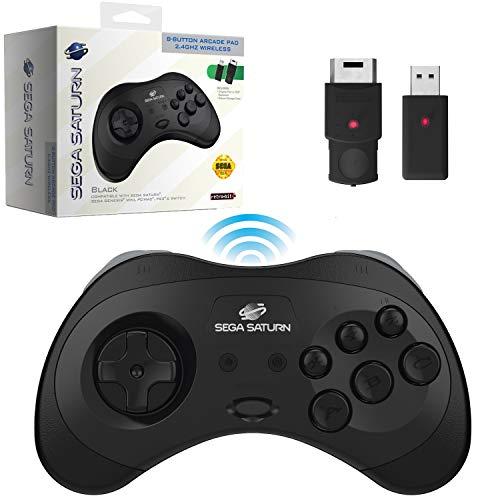 Retro-Bit Offizieller Sega Saturn 2,4 GHz Wireless Controller 8 Tasten Arcade Pad für Sega Saturn, Sega Genesis Mini, Switch, PS3, PC, Mac – inkl. 2 Empfänger und Aufbewahrungstasche (schwarz)