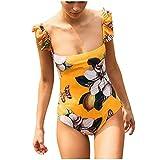 Damen Einteiliger Badeanzug mit Schmetterling und Blumen Muster Retro Rüschen Bikini für Strandbadebekleidung Dragon868