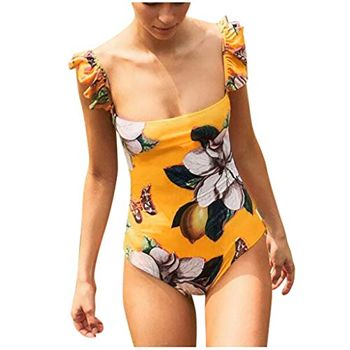 Amcool Damen Einteilige Badeanzug Monokini Rüschen Schultergurt Rückenfreies Badeanzüge Bademode Schwimmanzug Strand Swimwear Swimsuits Beachwear