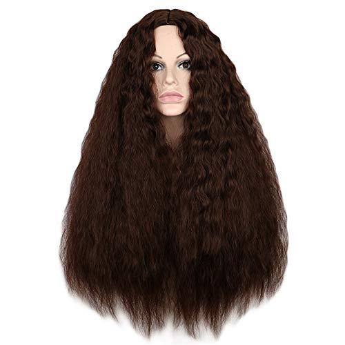 GUOJUANJUANJF Perücke Flauschige Mais heiße lockige Haare Damenperücke Mais heiße Nudeln Locken, braun