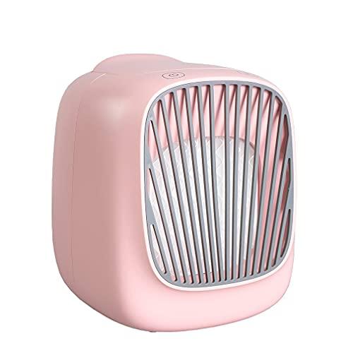 SeniorMar-UK USB Nachfüllbarer Mini-Luftkühler Desktop-Lüfter Tragbarer Kaltwind-Lüfter Für Home Office Mini-Klimaanlage rosa 136x150x171mm