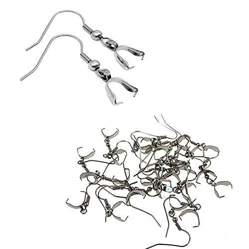VASANA 50 unidades de pendientes de acero inoxidable con gancho colgante de cierre de alambre de oreja, gancho de pesca, para manualidades, joyas y pendientes, plata