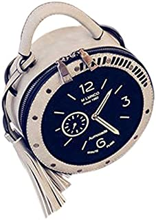 TOOGOO New Fashion Style Fashion Hot Women Tassel Clock Print Pu Leather Handbag Shoulder Bag Messenger Satchel Purse Satchel Tote Crossbody Bag Pink