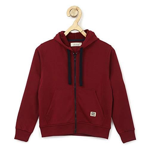 Alan Jones Clothing Boys Regular Fit Hoodies Sweatshirt (Cherry_11-12 Years)
