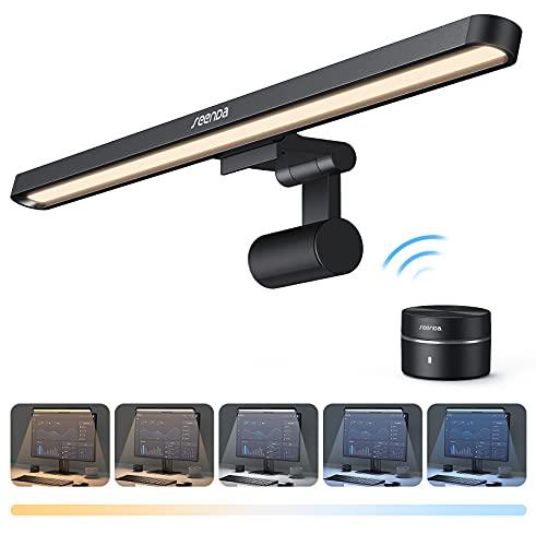 Computer Monitor Lampe, seenda LED E-Reading Licht, USB Schreibtischlampe mit Drahtlose Steuerung, Stufenlos Einstellbaren Farbtemperatur/Helligkeit,CRI≥95Ra, Anti-Blaulicht, Anti-Reflexion, Blendfrei