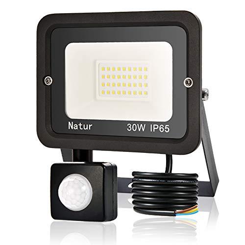 30W Foco LED Exterior con Sensor Movimiento, bapro Proyector LED Alto Brillo 3000 lúmen, IP65 Impermeable Floodlight Blanco Cálido 3000K Iluminación de Exterior Seguridad para Jardín, Garaje, Fábrica