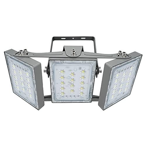 90W LED-Sicherheitslicht, 8100LM Superhell LED Fluter Flutlicht Außenstrahler, IP65 Wasserfest, 5000K Tageslicht, 3 Flutlicht mit verstellbarem Kopf unter, für Garten, Garage, Hotel ect.
