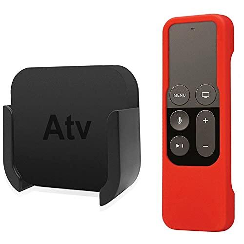 TANGIST Para el Soporte de Soporte de Montaje en Pared de Control Remoto de Apple TV con Estuche de protección de Control Remoto Silicone Siri para Apple TV 4º 4K (Color : Red)
