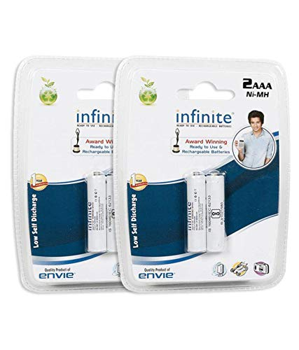 Envie 4 pcs AAA Rechargeable Infinite Ready To Use 800mAh for toys ,remotes etc