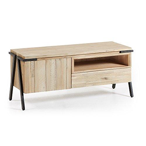 Kave Home - Meuble TV Thinh 125 x 53 cm avec Porte et tiroir en Bois Massif d'acacia et Pieds en Acier Noir