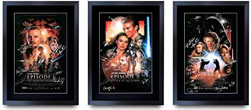 HWC Trading Poster mit Autogramm, A3 FR Star Wars – Filmkollektion, gerahmt, A3, Prequel Trilogy, A3
