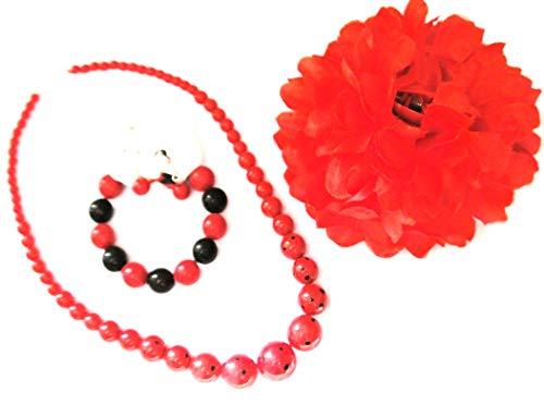 Juego de joyas Sevillana FLAMENCO flor + collar + pendientes + pulsera