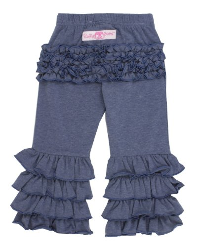 RuffleButts Baby/Toddler Girls Faux Denim Stretchy Flare Pants w/Ruffles - 6-12m