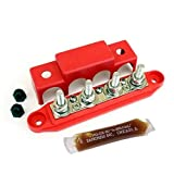 Bay Marine Supply Busbar – 4-Post Stainless Steel 3/8' Stainless Power Distribution Block - 250A Rating - Red