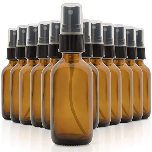 1790 Amber Glass Essential Oil Bottles, 2 oz Small Glass Bottles, Glass Bottles for Essential Oils- BPA Free - Toxin Free - Mini Spray Bottle(12 Value Pack)