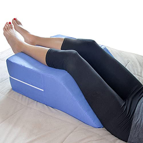 DMI Bed Wedge Ortho Pillow for Leg Elevation, Sciatica, Pregnancy, Back or Hip Pain, 19.25 x 23.25 x 8, Blue