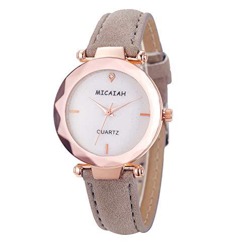 Neuer Trend Damen Klassisch Armbanduhr Uhr, Frauen Retro Analog Quarz Uhren Ultradünn Damenuhr Lederarmband Minimalistisch Damenarmbanduhr LEEDY