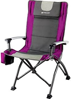Ozark Trail Ultra High Back Folding Quad Camp Chair, Gray/Pink, 300 Pounds Weight..