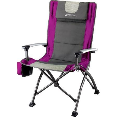 Ozark Trail Ultra High Back Folding Quad Camp Chair, Gray/Pink, 300 Pounds...