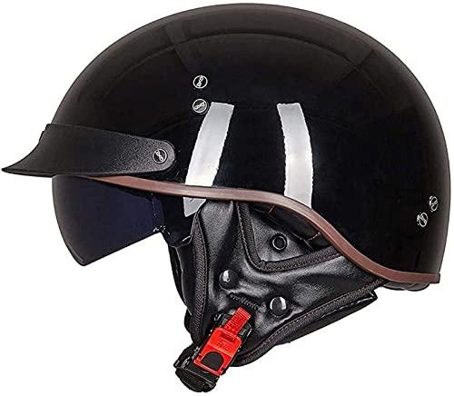 QAZXCVB Abierto Vintage Medio Casco De Moto Retro Cascos De Moto Jet Hombres Mujeres Adultos Helmets Casco De Protección Casco Jet De Media Carcasa Certificación ECE F,XXL
