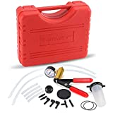 HTOMT 2 in 1 Brake Bleeder Kit Hand held Vacuum Pump Test Set for Automotive with Sponge Protected Case,Adapters,One-Man Brake and Clutch Bleeding System(Red)