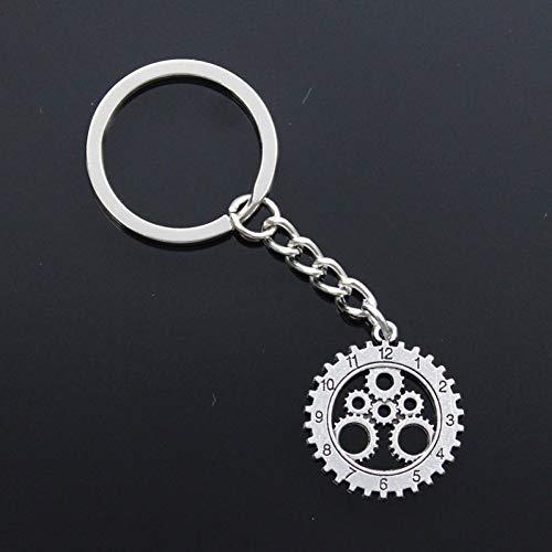 MINTUAN Mode MännerSchlüsselbund DIY Metallhalter KettePunk Gear Mechanische Uhr Uhr 28x25mm Silber Farbe Anhänger Geschenk