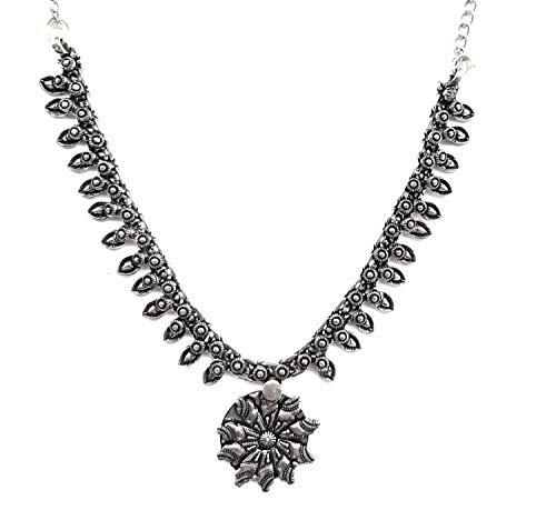 Halskette mit Anhänger, indisches deutsches Silber, oxidiert, ethnisch, Bollywood-Stil, handgefertigt, afghanisch, Statement-Schmuck