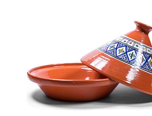Kamsah Hand Made and Hand Painted Tagine Pot   Moroccan Ceramic Pots For Cooking and Stew Casserole Slow Cooker (Medium, Bohemian Blue)