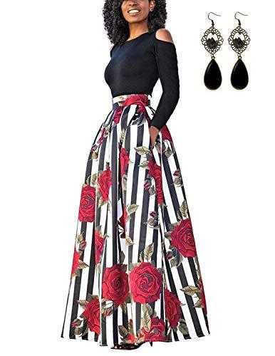 carinacoco Donna Vestiti Lunghi Due Pezzi Senza Spalline Manica Corta Camicetta + Rosa Stampa Gonne Lungo Elegante Vestito Abito Maxi da Sera (S, E-Bianco/Manica Lunga)