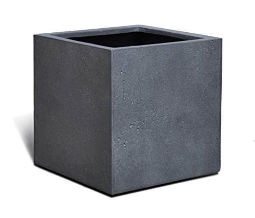 VAPLANTO® Pflanzkübel Cube 60 Blei Grau Quadratisch XL * 60 x 60 x 60 cm * Manufaktur Qualität * 10 Jahre Garantie