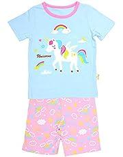 光るプリントパジャマ 半袖 綿100% 女の子 子供 ルームウェア キッズ 上下セット 寝巻き ガールズ 夏用 ベビー キッズ
