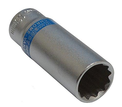 Aerzetix: Steckschlüssel Einsatz Nuss 12 kant 1/4 13mm tief lange professionelle hochwertige erweitert Stahl CrV Tiefe: 20 mm