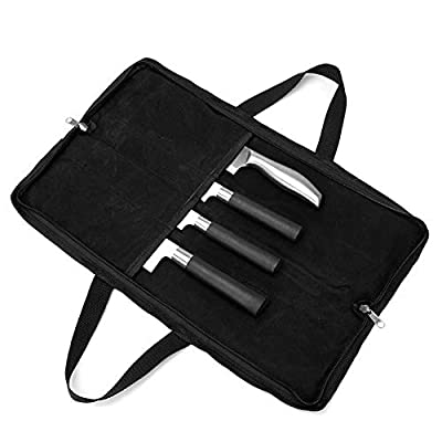 QEES Chef's Knife Case(4 Slots), Heavy Duty Waxed Canvas Knife Bag Holds 4 Knives with Handles, Portable Knife Holder for Men&Women, Perfect for Travelling, Working, Barbequing, Camping (Black)