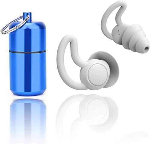 Ohrstöpsel zum Schlafen, Silikon Gehörschutz Ohrstöpsel für Gehörschutz, aus wiederverwendbar Silikon, zum Schwimmenwasserdicht, Weichfilter geeignet für Seitenschläfer , mit Alubehälter