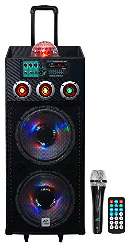 Product Image of the NYC Acoustics Dual 12' 700w Powered DJ Party Speaker Bluetooth, Lights+Mic...